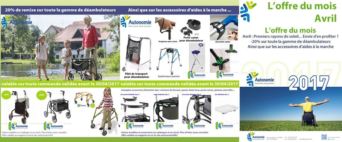 Avril 2017 - 20 % sur une large sélection d'accessoires d'aides à la marche et sur les déambulateurs et rollators